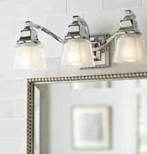 Hampton Bay 3-Light Chrome Vanity Light Fixture with Etched Glass Shades New