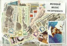 """Lot de 100 timbres thematique """" Musique """""""