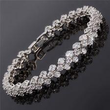 Xmas Tennis Dainty Round Cut Rhinestone Prom 18K White Topaz Bracelet Chain