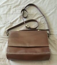 Vintage ANNAPELLE Brown Leather Bag Handbag Clutch Cross Body Messenger   2