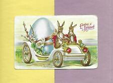 CUTE BUNNIES DRIVE EARLY AUTOMOBILE On Colorful Vintage 1909 EASTER Postcard