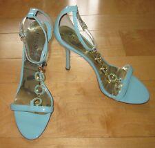 Guess Wms Baby Blue Open Toe T Strap Sandals Heels Leanna 7.5