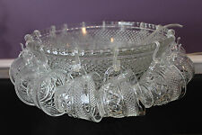 """ANCHOR HOCKING CLEAR 14"""" PUNCH BOWL AND 16 CUPS - DIAMOND QUILTED WEXFORD"""