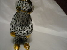 HEREND Monkey Sitting, arms folded, black fishnet  RARE, hard to find!