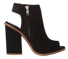 Steve Madden Women's VALENCIA Peep Toe Dress Sandal Bootie Black Nubuck Size 7