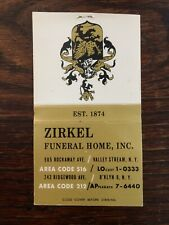 1950s Zirkel Funeral Home Matchcover Vintage Brooklyn NY