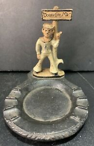 "Vintage Cast Iron Sailor Hitchhiker Sign Mounted on Ashtray 4 1/4"" Tall 4"" Wide"