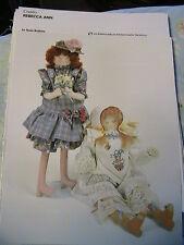 REBECCA ANN~Susie Robins WHIMSICAL cloth art doll pattern *RARE & OOP
