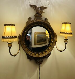 Gorgeous Vintage Gilt Framed Convex Federal butlers mirror with twin arm lamps