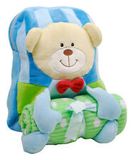 Blue Teddy Bear Adjustable Backpack And Blanket