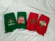 Set Of 4 Christmas Hand Towels