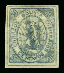 BOLIVIA  1868  CONDOR  50c blue  Sc# 6  MINT MH  VF - RARE