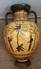 Ancient Greek Neck Amphora with Olive Harvest Museum Replica Reproduction