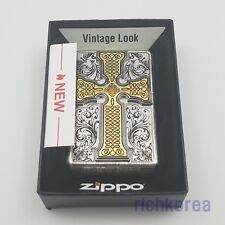 Antique Windproof silver Zippo Lighter Gold Cross Satin Chrome Original Packing