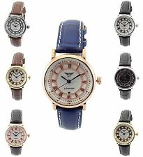 Stainless Steel Genuine Leather Strap Analog Wristwatches