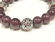 Handmade 10mm Unisex Red Garnet and .925 Tibetan Bali Sliver Bead Bracelet