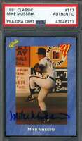 Mike Mussina 1991 Classic Rookie PSA DNA Coa Autograph Hand Signed