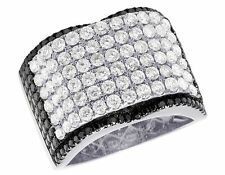 Men's 14K White Gold Real Diamond Black Concave Wedding Band Ring 4 1/2 Ct 16MM
