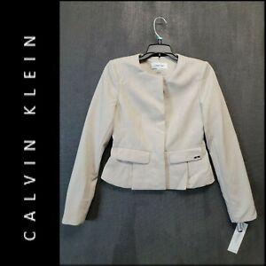 Calvin Klein Women Career Formal Cropped Suit Blazer Size 2 Beige Nwt