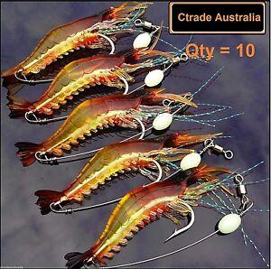 10 x GLOW Rigged Prawn Lures Bream Flathead Whiting Bass Jewfish Soft Plastics