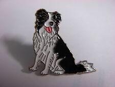 Collie, Sheep dog sitting down pin badge. Nice lapel badge, Rough, Smooth Welsh