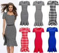 Womens Bodycon Fishtail Houndstooth Dress Midi Business Work Pencil Formal 6-16