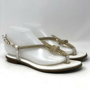Michael Kors Women's Sling Back Flat Sandal Size 8 Thong Gold Logo