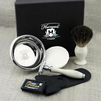 Badger Shaving Brush Double Edge Safety Razor Resin Handle Soap Bowl Set