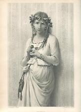 ANTIQUE BEAUTIFUL GIRL WILDFLOWERS HAIR WREATH OPHELIA PORTRAIT ENGRAVING PRINT