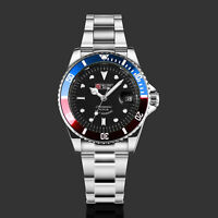 Military Royale Mens Watch Automatic Blue & Red Bezel Stainless Steel Date Army