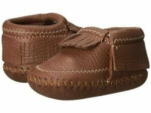 NIB Minnetonka Bootie Shoes Riley Brown Leather Moccasin toddler 3 4