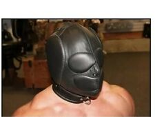 REAL LEATHER BONGAGE ISOLATION HOOD WITH PADDED EARS