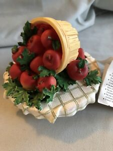 VINTAGE HOME INTERIORS BASKET OF APPLES JAR CANDLE TOPPER
