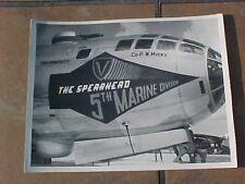 "ORIGINAL WWII 8"" x 10"" PHOTO - B-29 IN PACIFIC W/ 5TH MARINE DIVISION NOSE ART"