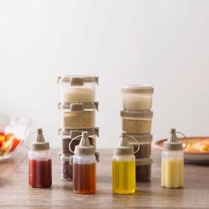 4pcs Easy Clean Mini Sauce Seasoning Box Barbecue Kitchen Transparent Bottles