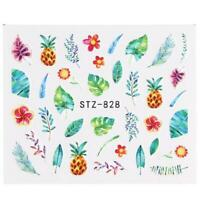 Nail Art Water Decals Stickers Transfers Summer Palm Trees Pineapple Floral 828