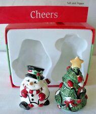 Fitz and Floyd CHEERS Christmas Tree Snowman Salt & Pepper UNUSED Original Box