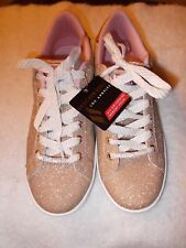 NEW NWT SKECHERS SHIMMER GOLD GLITTER RHINESTONE Shoes size Girls 6 or Womens 8