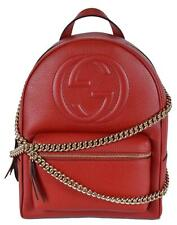 Gucci Women's 536192 Red Leather Soho Chain Strap Small Backpack Purse Bag