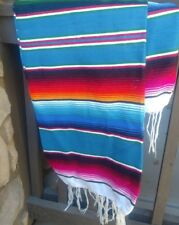 Mexican Serape blanket Blue Teal Multi-colored stripes, white Fringe XL