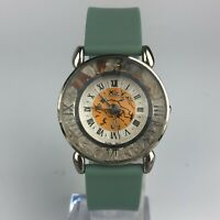 Marie Lourdes Womens Green Leather Band Vintage Prisma Gemstones Watch