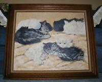 VINTAGE FLUFFY CATS KITTENS SHABBY ANIMALS CHIC OIL PETS BIG FRAMED OIL PAINTING
