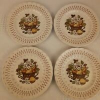 "Lot of 4 Metlox Vernon Ware Fruit Basket Salad Plates 7.5"" MCM EUC"