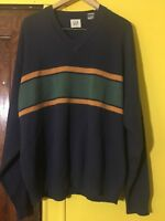 Gap Men's XL crew neck pull over sweater Blue Striped cotton wool blend casual