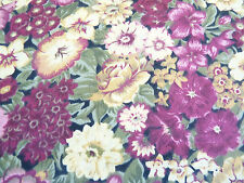 Pretty Country Floral on Cream Quilting Cotton F/Q Pins Burgundy Sage Green
