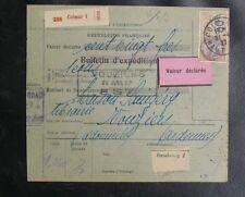 FRANCE COLIS POSTAUX : 1927 ALSACE LORRAINE MERSON N° 145 SUR BULLETIN EXPEDIION