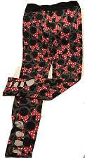 New listing Disney Minnie Mouse Leggings lularoe Black With Red bows Laced Ankle Gently Used