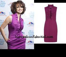 TED BAKER Purple Sleeveless Ruffle Front Pencil Dress Size 1 (US 2 XS)