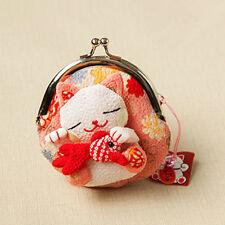 Japanese Silk cute Lucky Cat Maneki Neko Coin Change Wallet Purse Bag pink gift