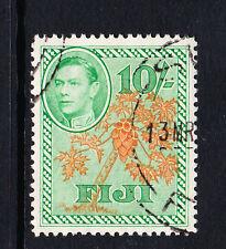 FIJI 1938 10/- ORANGE & EMERALD SG 266a FINE USED.